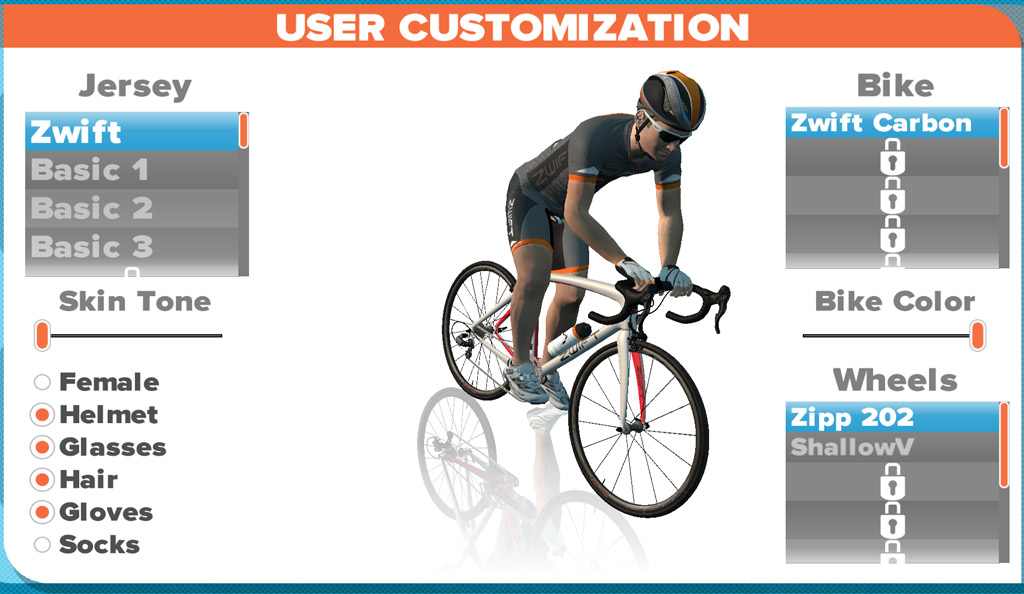 zwift character customization